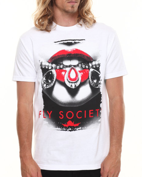 Flysociety - Men White Gems T-Shirt - $23.99