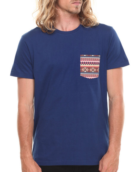 Wesc - Men Navy Kelim Aztec Pocket S/S Tee