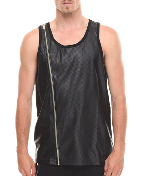 Akademiks - Men Black Supra Peforated Faux Leather Trim Tank Top