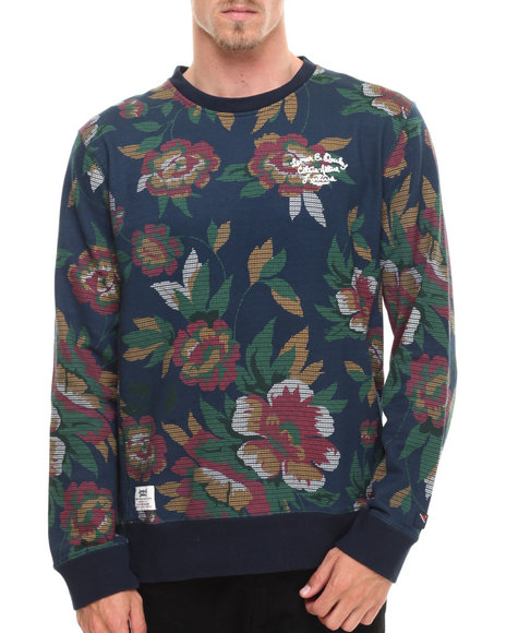 Lemar & Dauley - Men Navy Maplewood French Terry Floral Crew Sweatshirt