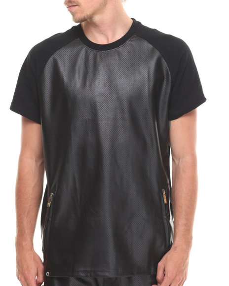 Akademiks - Men Black Carrera Faux Leather Trim Raglan Tee