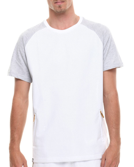 Akademiks - Men White Carrera Faux Leather Trim Raglan Tee
