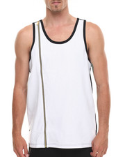 Men - Supra Peforated Faux Leather Trim Tank Top