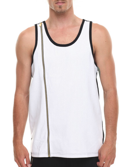 Akademiks - Men White Supra Peforated Faux Leather Trim Tank Top