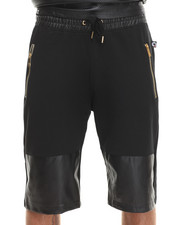 Akademiks - Boxter Solid/Perforated Mix Faux Leather Shorts