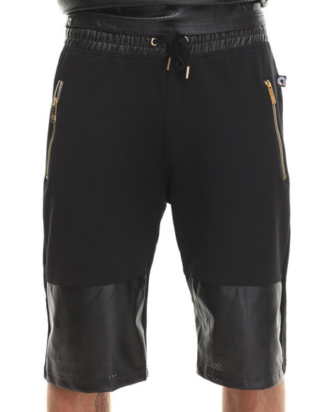 Akademiks Black Boxter Solid/Perforated Mix Faux Leather Shorts