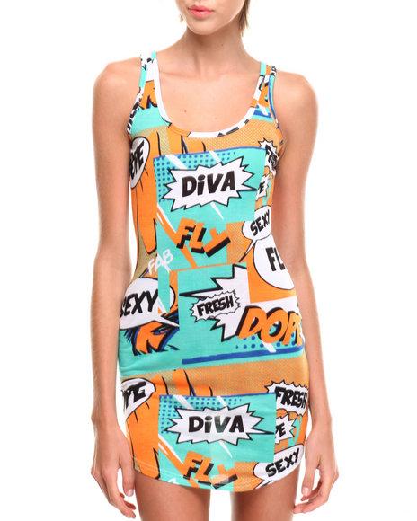 COOGI - Cartoon Print Sleeveless Dress
