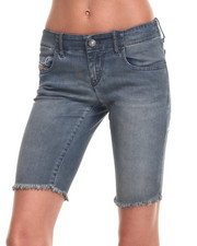 Women - Frayed Hem Bermuda Shorts
