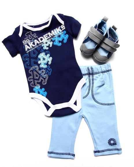 Akademiks Boys Blue 3Pc Sneaker Set (Newborn)
