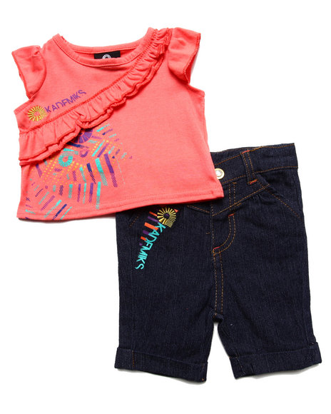 Akademiks - Girls Orange Ruffled Tank & Pant Set (Newborn) - $20.99