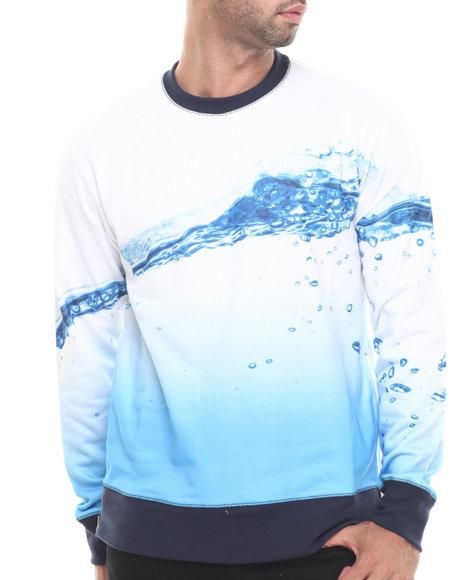 Aura Gold - Men White French Terry Water Print Crew W/ Nylon Zip Side Detail - $52.99