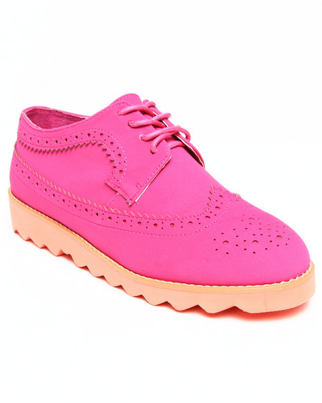 Penny Sue - Women Dark Pink Lincoln Rough - Sole Wingtip Shoes