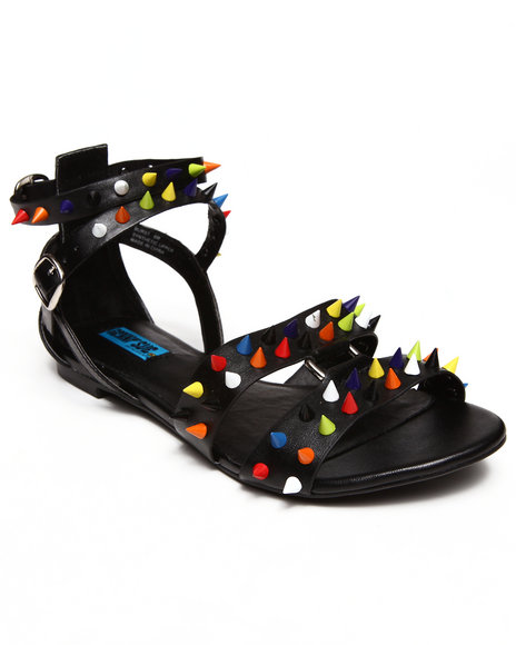 Penny Sue Black Burst Color Studded Sandals