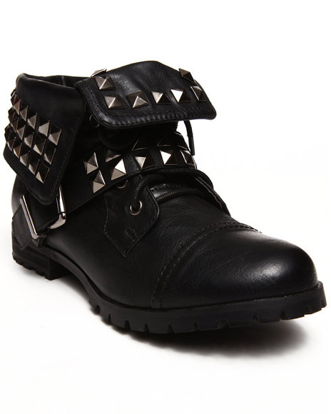 Penny Sue - Women Black Brooklyn Studded Roll - Top Bootie