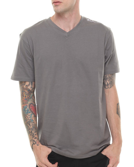 Rocawear - Men Grey Basic V Neck Tee