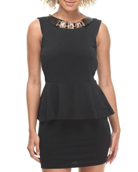 Fashion Lab - Nikki Sleeveless Peplum Dress w/ Attached Necklace