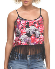Tops - Floral Print Fringe Bottom Tank