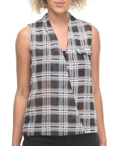 ALI & KRIS Black,White Plaid Chiffon Sleeveless Button Down Top