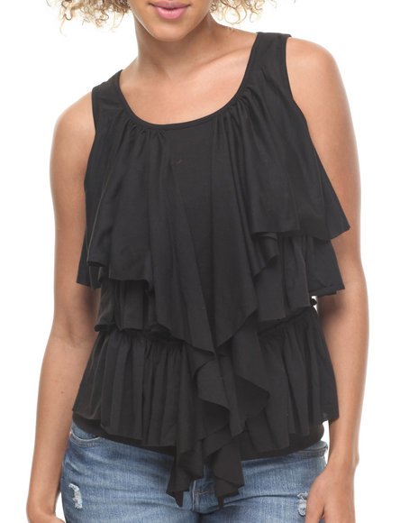 Fashion Lab - Women Black Kat Draped Ruffles Knit Top