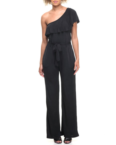 Fashion Lab - Women Black Mel One Shoulder Ruffle Jumpsuit