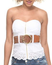 Women - Cotton Zip Front Belted Eyelet Hem Bustier