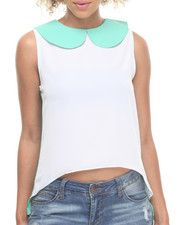 Women - Hilary Sleeveless Peter Pan Collared Chiffon Top