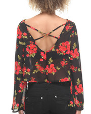 Tops - Cropped Bell Sleeve Floral Open Back Top