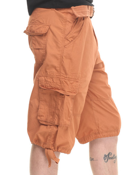 Basic Essentials - Men Tan Belted Cargo Shorts
