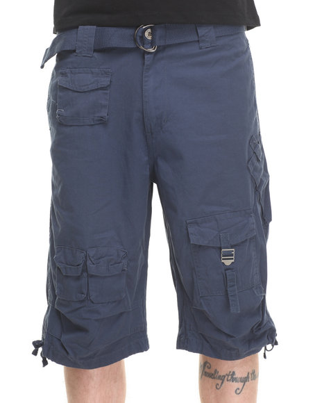 Basic Essentials - Men Navy Fine - Twill Multi - Pocket Cargo Shorts
