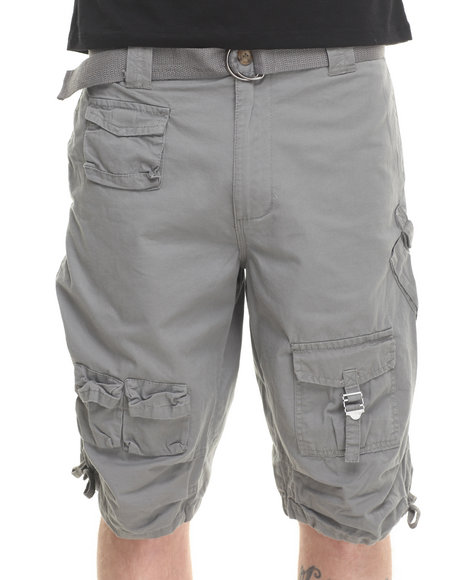 Basic Essentials - Men Grey Fine - Twill Multi - Pocket Cargo Shorts