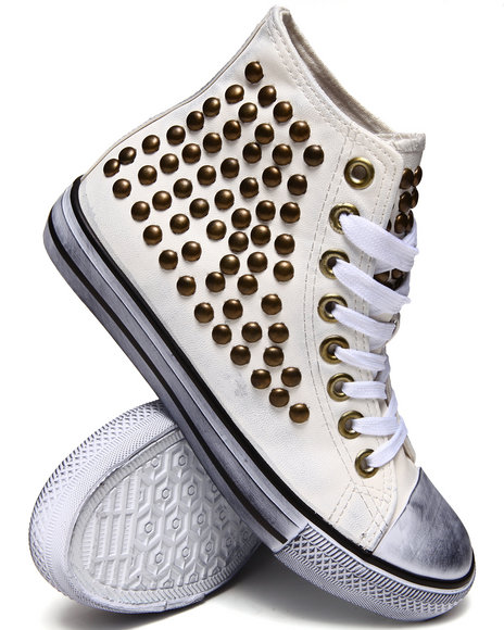 Penny Sue - Women White Corporal Studded Canvas Sneakers