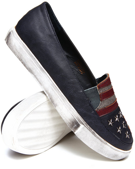 Penny Sue - Women Navy Betsy Flag Slip - On