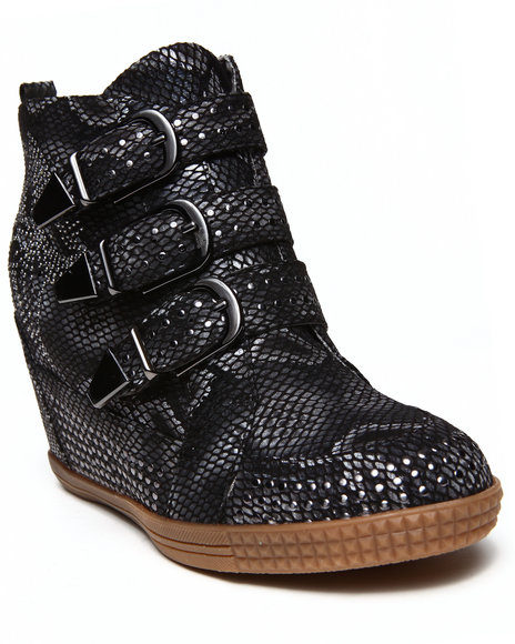 Penny Sue Black Julie Studded Strapped Wedge