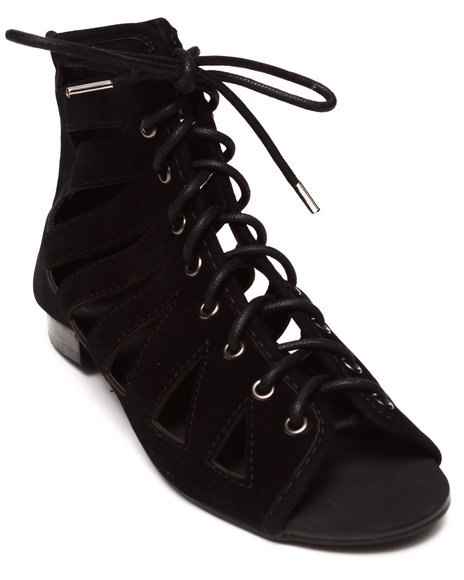 Penny Sue - Women Black Matrix Slotted Bootie