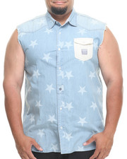 Men - Sleeveless Star Denim Button Down