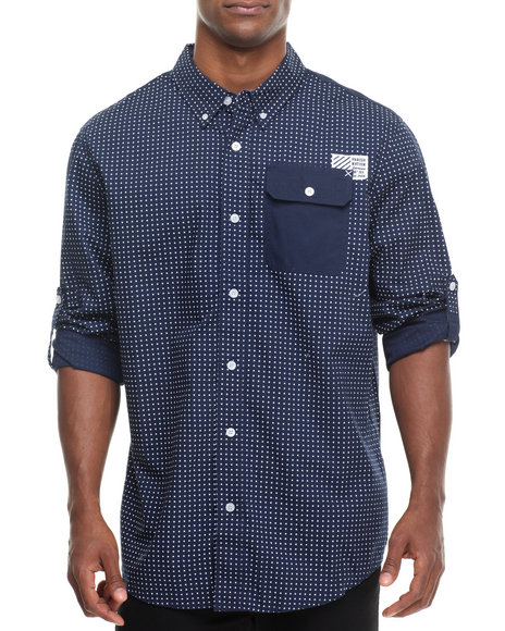 Parish - Men Navy Stars L/S Button Down