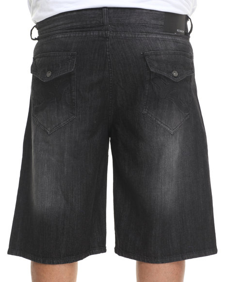 Rocawear - Men Black R Flap Denim Shorts (B & T)