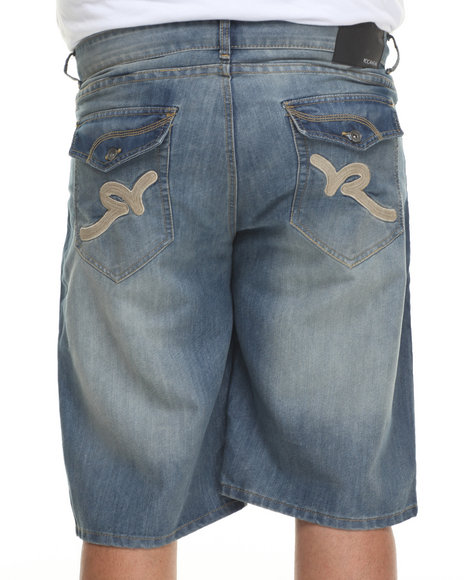 Rocawear - Men Medium Wash R Flap Denim Shorts (B & T)