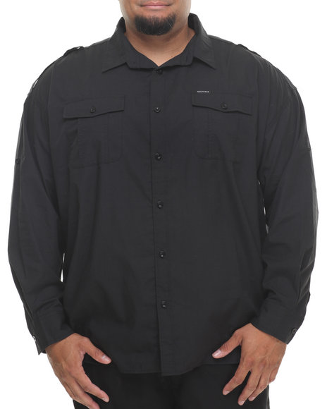 Rocawear Black All Black L/S Button-Down (Big & Tall)