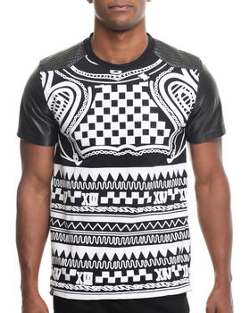 Buyers Picks - DSTRKT All over Crazy print S/S tee (Faux leather sleeves)