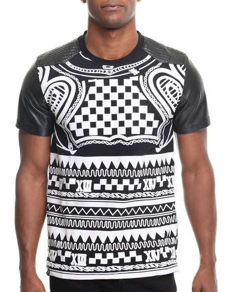 Buyers Picks - Men Black Dstrkt All Over Crazy Print S/S Tee (Faux Leather Sleeves)