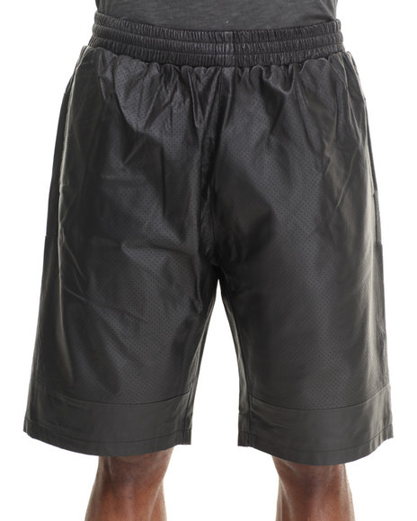 Crooks & Castles Black Maniac Leather Shorts