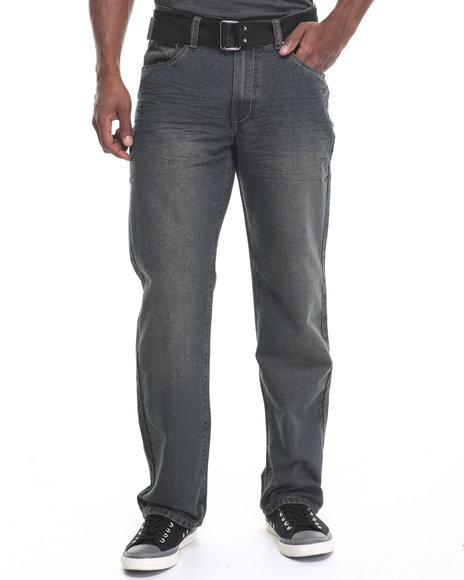 Basic Essentials - Men Dark Wash Belted Denim Jeans