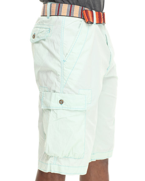 Basic Essentials - Men Green Poplin Cargo Shorts W/ Multi - Color Belt