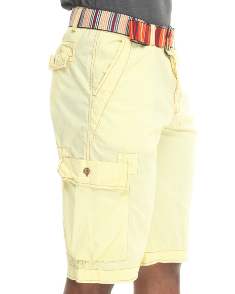 Basic Essentials - Men Yellow Poplin Cargo Shorts W/ Multi - Color Belt