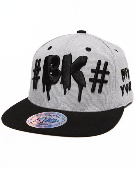 Buyers Picks Men Brooklyn Drip City Snapback Hat Grey