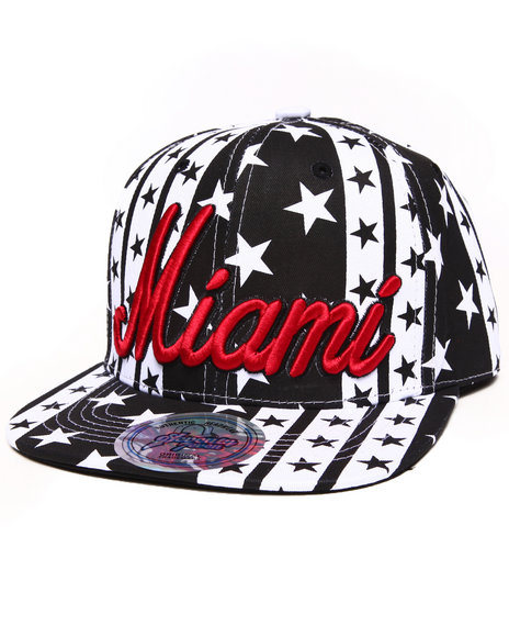 Buyers Picks Men Miami B&W Stars Snapback Hat Red - $4.99