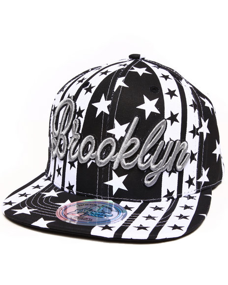Buyers Picks Men Brooklyn B&W Stars Snapback Hat Grey