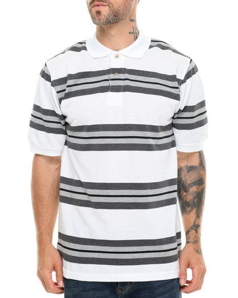 Basic Essentials - Men White Striped Pique Polo - $13.99