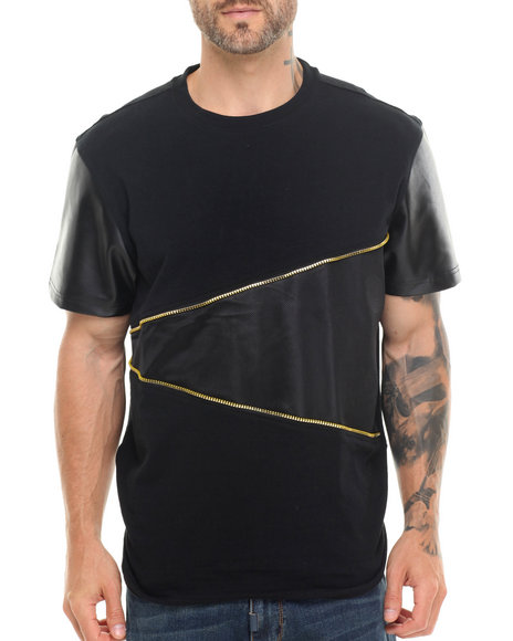 Buyers Picks - Men Black Cut & Sewn Mesh/Faux Leather Tee - $15.99